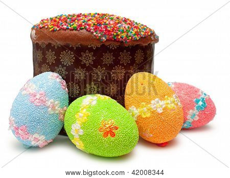Easter Eggs And Cake (kulich)