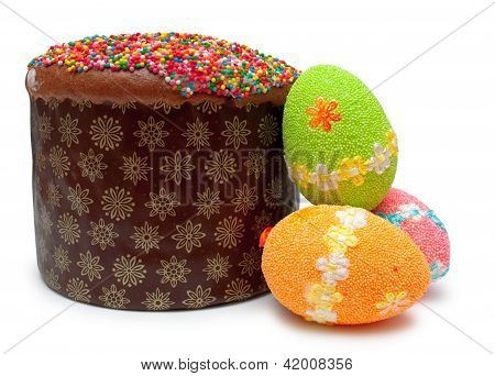 Easter Bread (kulich) With Three Eggs