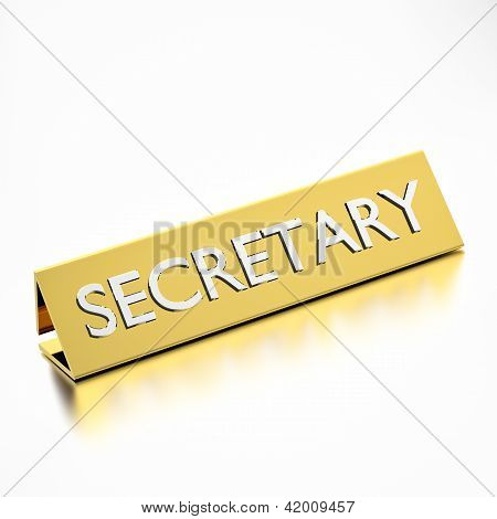 Secretary Job Title Nameplate