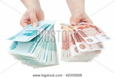 Hands Offer Russian Money