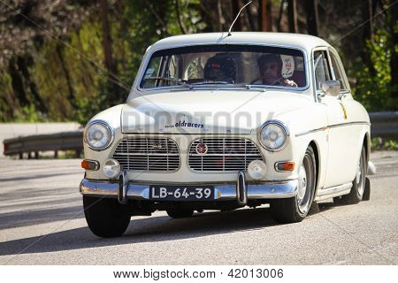 Leiria, Portugal - February 2: Pedro Black Drives A Volvo 122S During 2013 Amateur Winter Rally, In