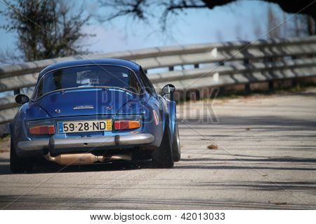 Leiria, Portugal - February 2: Carlos Brizido Drives A Renault Alpine 1600 During 2013 Amateur Winte