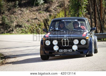 Leiria, Portugal - February 2: Joao Fernandes Drives A Bmw 2002 During 2013 Amateur Winter Rally, In