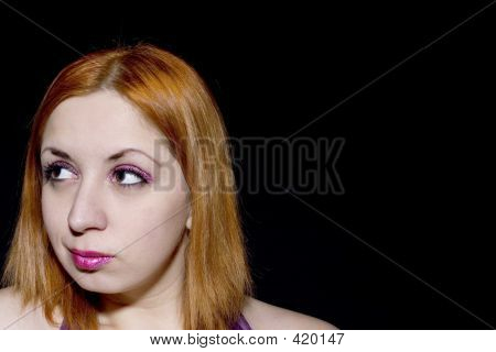 Young Red Head With Glitter Makeup (copy Space)