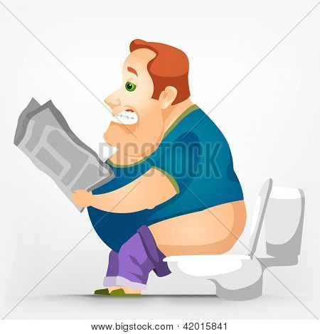 Cartoon Character Cheerful Chubby Men. WC. Vector Illustration. EPS 10.