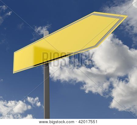 Road Sign Yellow Blank Single
