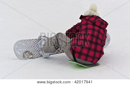 Kiev, Ukraine - February 10: Girl Dress Snowboarding At A Mountain Resort ; February 10, 2012 In Kie