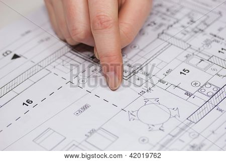 Closeup Of Blueprint of the House.