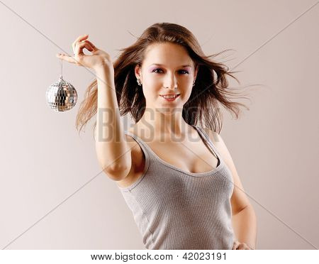 girl with disco ball