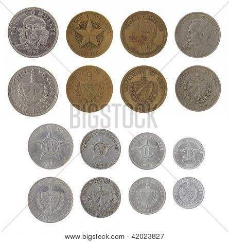 Cuban peso coins isolated on white