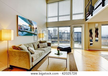 Modern Loft Apartment Living Room Interior.