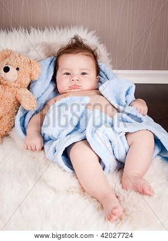 Cute Little Baby Todler Infant Lying On Blanket