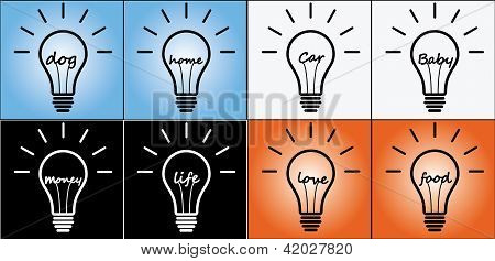 Illustration Concept Of Idea Using Light Bulb In Life, Love, Food, Baby, Car, Home, Dog, Money