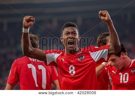 VIENNA,  AUSTRIA - OCTOBER 16: David Alaba (#8 Austria) celebrates after a goal during the WC qualifier soccer game on October 16, 2012 in Vienna, Austria.