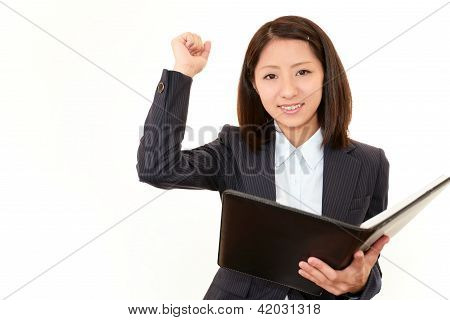 Business woman enjoying success