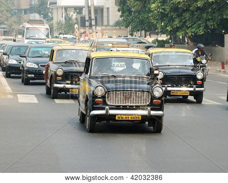 Mumbai Traffic With Several Classical taxi -  Ambassador Cabs