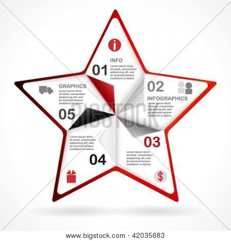 Frame star design template for infographics. vector