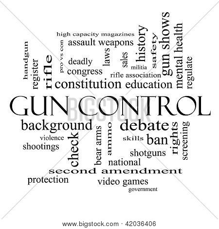 Gun Control Word Cloud Concept In Black And White