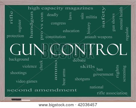Gun Control Word Cloud Concept On A Blackboard