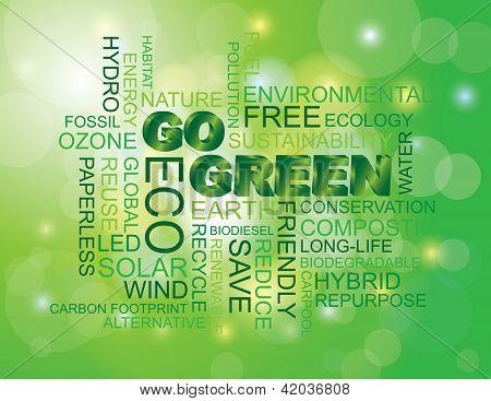 Vai a palavra verde fundo verde em nuvem