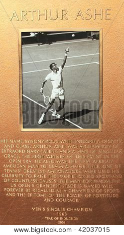 Arthur Ashe plaque at US Open Court of Champions at Billie Jean King National Tennis Center