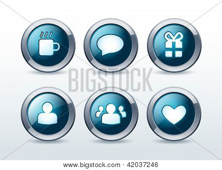 Social and web communication icons set vector illustration