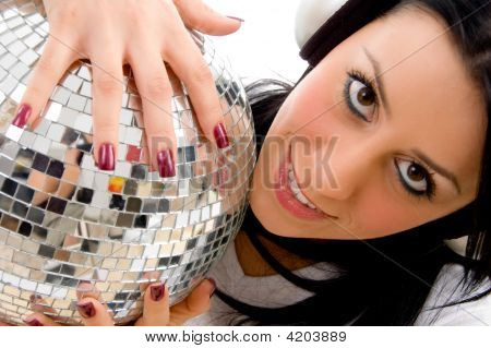 Top View Of Woman Holding Disco Mirror Ball With White Background