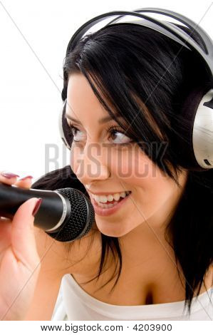 Top View Of Woman With Headphone And Microphone On White Background
