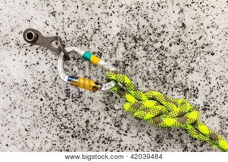 Carbine And Hook With Rope In Ice