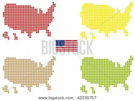 Coloured Usa Map