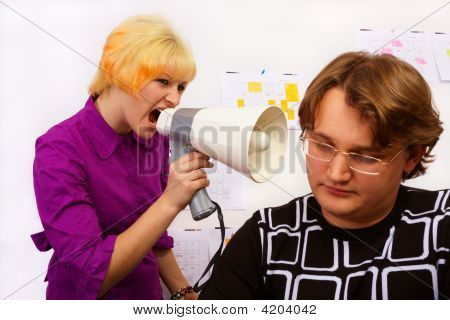 Girl Is Screaming In Megaphone To Her Boss.
