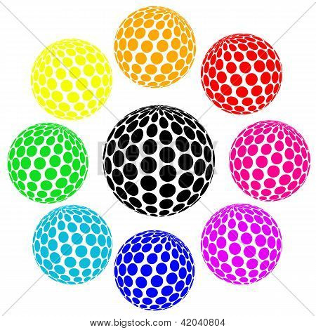 Set Of Rainbow Colors Sphere Dot