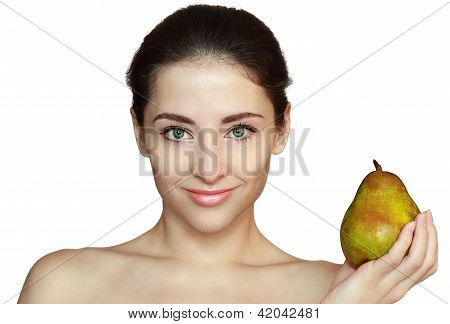 Smiling Woman And Green Pear Isolated On White Background. Diet Concept