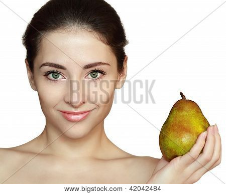 Woman And Green Pear Isolated On White Background. Closeup Portrait