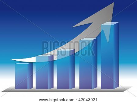 illustration of  bar chart?with rising arrow