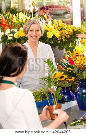 Senior woman buying potted plant paying flower market shop