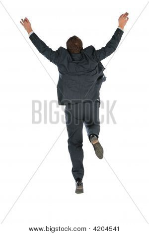 Behind Jumping Businessman