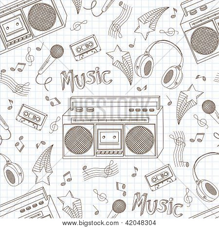 Seamless pattern of music equipment.