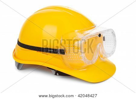 Yellow Hard Hat And Goggles