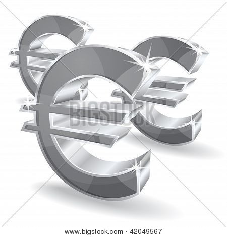 3d Glossy Euro Vector Icon