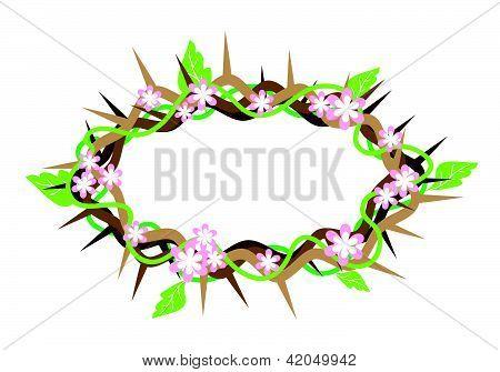 用新鲜叶子荆棘的冠冕