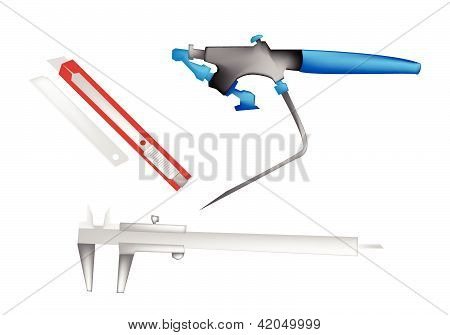 An Illustration Of Airbrush, Caliper And Paper Knife