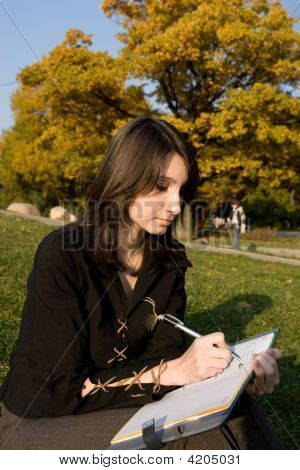 The Girl Writes A Diary On Fresh Air