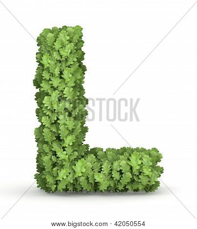 Letter L from green leaves