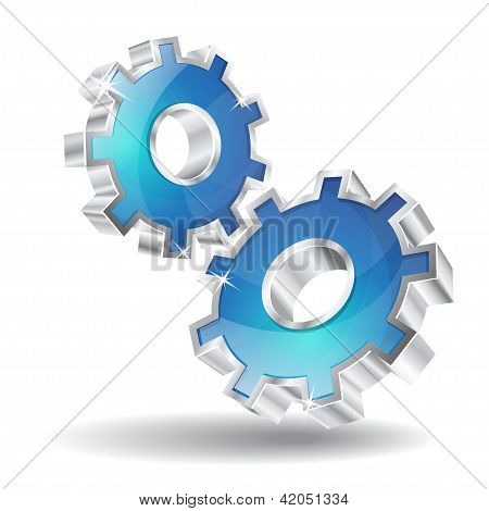 3D Mechanical Gear Vector Icon