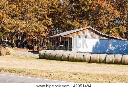 Rolled Sod By Old Rusty Barn
