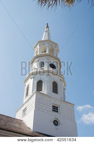 White Church Steeple From Ground
