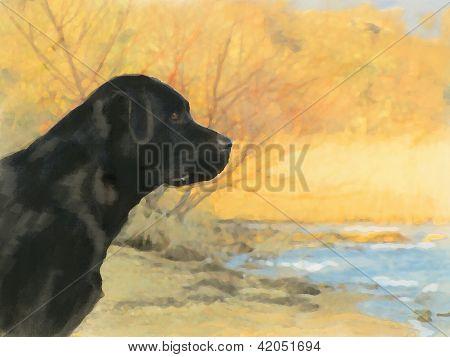 Pintura al óleo Retrato de Labrador negro en otoño