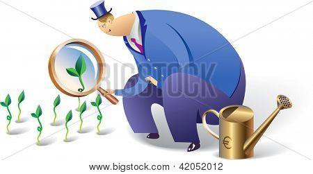 European banker is looking after his investment. Raster image. Find editable version in my portfolio.