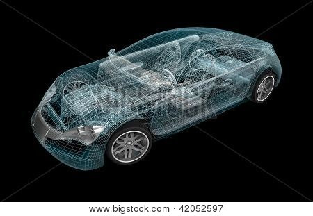 Car wireframe. My own design.